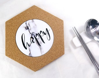 Cork Trivet Personalized Teapot Pad Lettering Marble Pattern