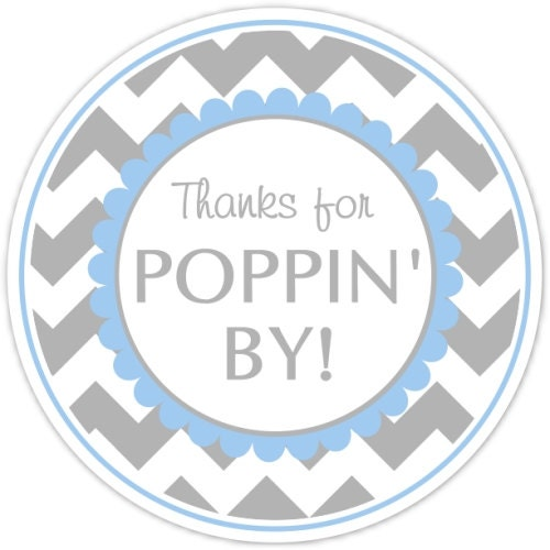 Baby Shower Thanks For Poppin By Labels Chevron Baby