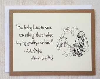 How Lucky I Am - Winnie the Pooh Quote - Classic Pooh and Christopher Robin Note Card Cream On Kraft Brown