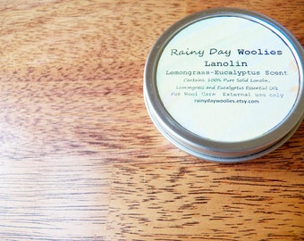Solid Lanolin for Wool Care - Lemongrass and Eucalyptus Scent - 2 Ounces - Lanolin for Wool Diaper Covers / Wool Soakers / Longies