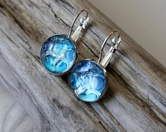 Sea glass earrings, seaglass earrings, ocean earrings, tumbled glass earrings, green earrings, clear earrings, blue earrings