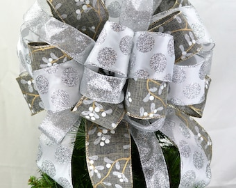 Silver Tree Bow Topper - Tree Topper Bow - Christmas Tree Bow - White Tree Bow - Grey Bow for Christmas Tree - Silver Christmas Bow