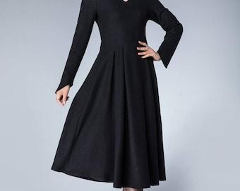 50s dress, black wool dress, pleated dress, winter dress, mandarin collar dress, party dress, elegant dress, womens dresses, gift 1872