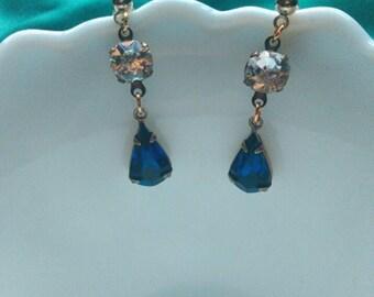 Sparkly Crystal Earrings Blue