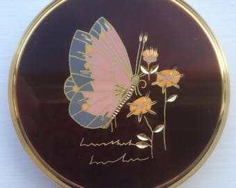 Boxed Stratton Butterfly and Floral Queen Compact