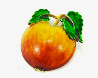 Enamel Apple Brooch, Dome / 3-Dimensional Red / Yellow Apple Pin