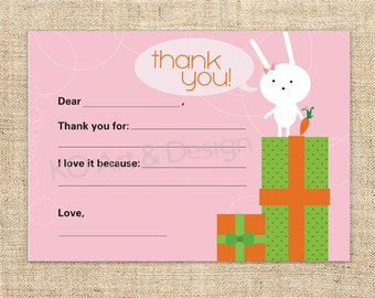Cute Printable Thank You Note Card Template for Boys and Girls... all children and kids at heart.