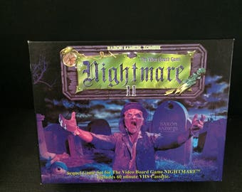 Vintage Rare Fun NIGHTMARE 2 II VHS Video Board Game Complete - 1980's Board Game vcr! Lot 2 Mint