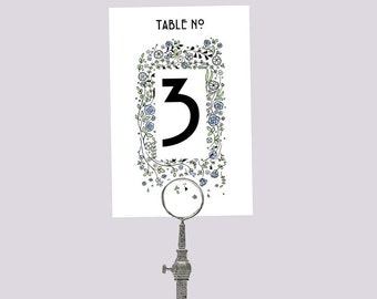 Printable Wedding Table Number Download 'Floral' // DIY TEMPLATE // Word Mac or PC // 5 x 7 // Change artwork colour // Luxury Design