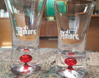 Di Amore Shot Glass with Red Bubble (Set of 2 of the Liquor of Love)