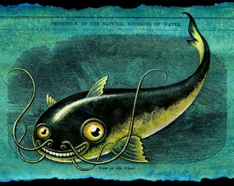 Fish art print, Namazu: Smiling catfish, Tsunami monster, Mythical creature, Japanese yokai, Funny fishing art, Blue green oddity, curiosity