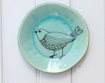 small plate // tapas plate // jewelry storage // dessert plate  // bird