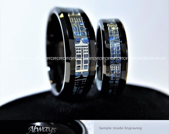 6MM -OR- 8MM Doctor Who Inspired Tardis Blue Carbon Fiber Inlay Tungsten Wedding Ring, Free Inside Engraving