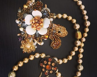 Vintage Beaded Embroidery Necklace with Pearls