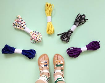 Child Interchangeable Gladiator Greek Summer Leather Sandals - Fabric Wrap Up Laces with 1 FREE pair of laces