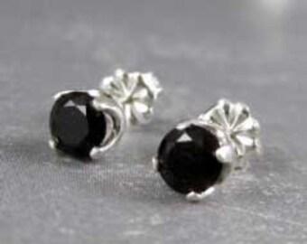 Black spinel earrings, Black gemstone earrings, genuine gemstones, black spinel jewelry, 5mm, black earrings, studs in sterling silver