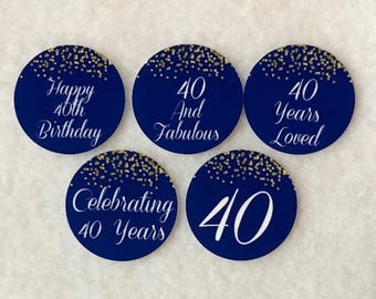 Set Of 50/100/150/200 Personalized 40th Birthday Party 1 Inch Circle Confetti