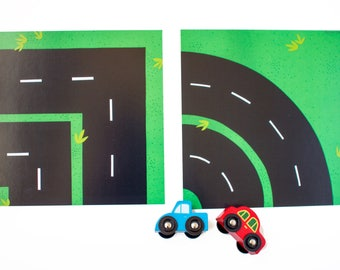 Toy Car Play Mat, Race Track: CORNER and CURVE Pieces.