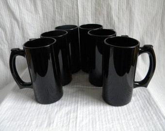 6 Tall Mugs - Black Glass - Shiny - 1990's