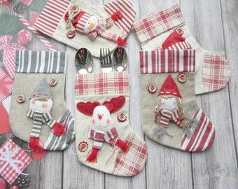 Christmas Silverware Holder Christmas Table Decor Family stockings set 5 Burlap Silverware Personalized Christmas stocking Scandi decor