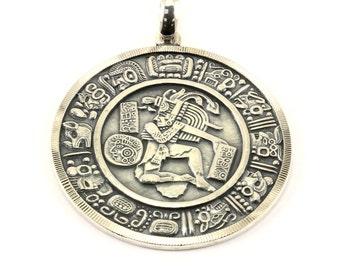 Vintage Aztec Design Pendant 925 Sterling Silver PD 191-E