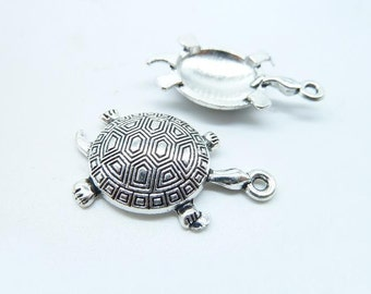 10pcs 18x34mm Antique Silver  Sea Turtle Tortoise Charm Pendant C5889