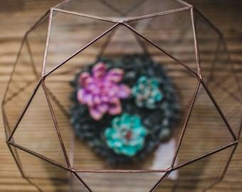 Kleine Terrarium Icosidodecahedron Glasmalerei Terrarium Glasdekoration Blumentopf für indoor Gartenarbeit geometrische Terrarium-Weihnachts-Geschenk