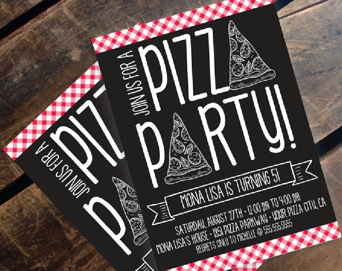 Pizza Party Invitation - Pizza Birthday Party, Pizza Party, Italian Party, Self-Editing | DIY Editable Text INSTANT DOWNLOAD Printable