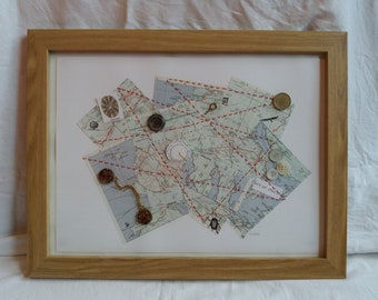 Crowstep Treasure map, framed collage assemblage