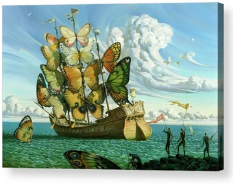 "Salvador Dali ""Butterfly Boat"" Repro Canvas Box Art A4, A3, A2, A1"