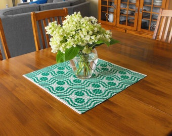 White and Green Table Runner, Handwoven Wool and Cotton Table Runner, Hand Woven Table Runner Overshot, Green and White Table Runner Spring