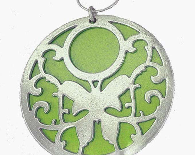 Large reversible BUTTERFLY round pendant with LIME front and AQUA back