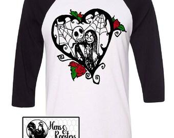 LIMITED Jack and Sally Valentines Day Shirt / Nightmare Before Christmas T-Shirt / Super Soft Unisex Raglan / Baseball T-Shirt (B3200) #1360