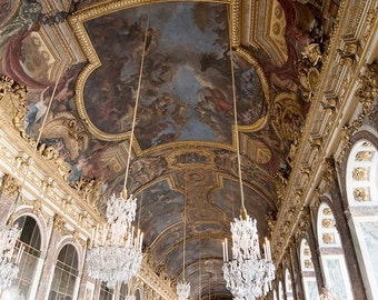 Paris Versailles Photography, French Home Decor, Hall of Mirrors, Chandeliers,  Large Wall Art