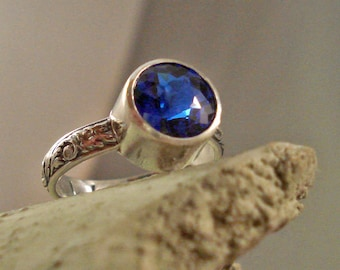 Blue Sapphire Ring Lab grown Locally Cut with Oxidized Floral Pattern Sterling Silver Band size 7 Free Shipping