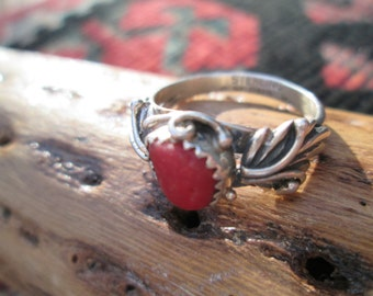 Native American Coral and Sterling Ring Size 7.5