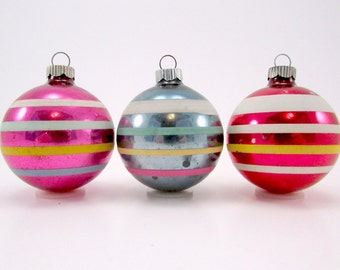Vintage Striped Shiny Brite Christmas Ornaments 1950s  Holiday Decorations Baubles