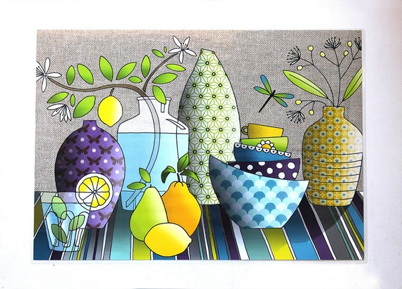 "Laminated placemat ""lemon lime"""