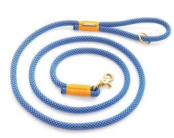 Lakeside rope dog leash // Blue and yellow climbing rope lead // Unique pet leash with brass hardware // Colorful strong rope leash 4' or 6'