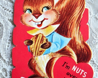 Vintage Valentine Card - Squirrel Nuts Over You - School Valentine