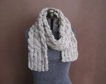 Chunky Cream Cable Knit Scarf - The Rainier - MADE TO ORDER