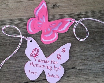 Butterfly Thank You Tags, Favor tags, Gift tags - Pink & Lavender - Personalized  - baby shower, birthday - set of 8 tags