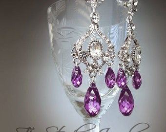 Amethyst Purple Chandelier Earrings