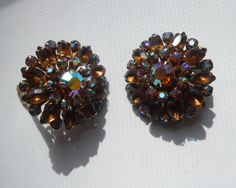 1960s Aurora Borealis And Amber Rhinestone Cluster Earrings | clip on