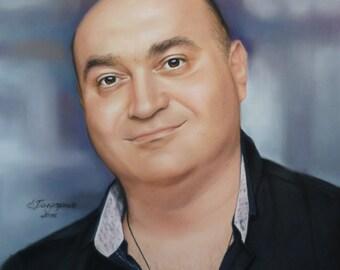 Portrait pastel. Portrait of a man