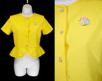 Vintage 70's Yellow Crop Top w/ Flower Applique XS