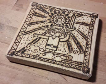 The legend of Zelda prophecy pyrograved