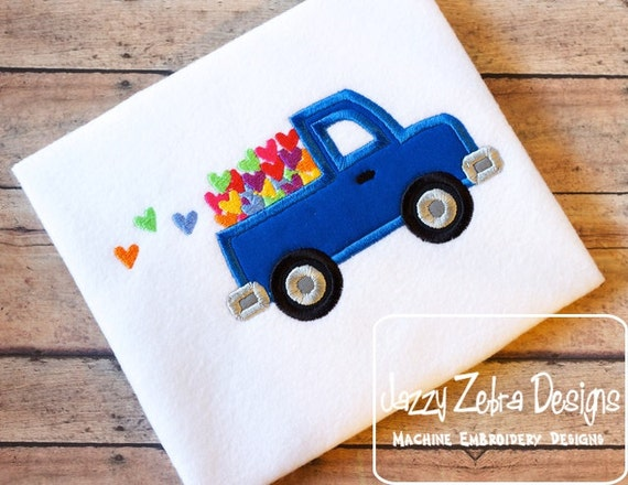 Valentine Truck with Hearts Applique and Filled Design - Valentines day appliqué design - Boy appliqué design - Valentine appliqué design