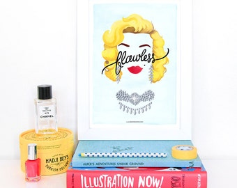 Flawless Marilyn Monroe Poster, Calligraphy Print, Girlboss Illustration, Girl Power Art Print, Typography Print, Queen B Gift for Her