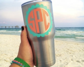 Two Tone Scallop Monogram Decal | Yeti Cup Decal | Tumbler Decal | Car Decal | Laptop Decal | Custom Decal | Vinyl Decal
